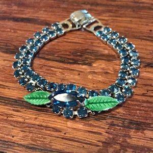 VTG blue stone bracelet with green leaves
